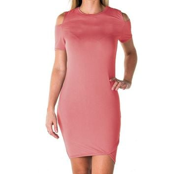 Ladies fashion casual cold shoulder with side slit mini dress