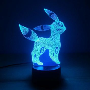 Umbreon 7 Color Lamp 3d Visual Led Night Lights For Kids Touch Usb Table Lampara Lampe Baby Sleeping NightlightKawaii Pokemon go  AT_89_9