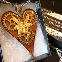 Clockwork Fairy- Heart with Gears Steampunk Pendant Necklace- (1901)