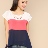 Sheer Tri-Colored Striped Flare Top