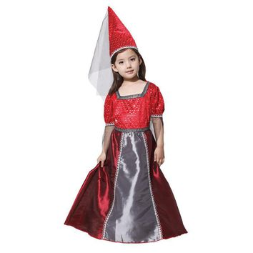 Factory Direct Sale Girls Red Goth Medieval Princess Renaissance Juliet Child Stage Performance Fancy Dress Halloween Costume