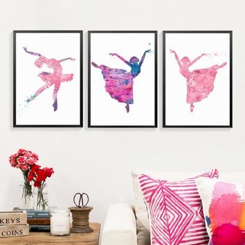 Watercolor Ballet Dancing Girls Wall Art Pictures Canvas Paintings Nordic Poster Print for Kids Bedroom Home Decor Drop shipping