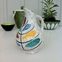 Fantastic 1950s Modernist, German ceramic jug!! Fab abstract, primary colour motifs!
