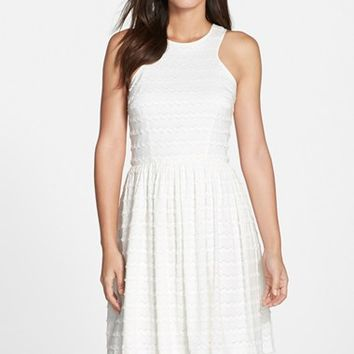 Women's Trina Turk 'April' Fringe Eyelet Fit & Flare Dress,