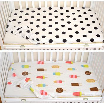 Cotton Classic Polka Dot/Ice Cream Pattern Baby Fitted Sheet For Crib Adornment
