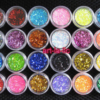 24 Colors Spangle Glitter Nail Art Paillette Acrylic UV Powder Polish Tips Set