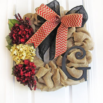 Fall Burlap Wreath With Monogram, Burlap Wreath For Fall, Front Door Decor, Personalized Door Decor