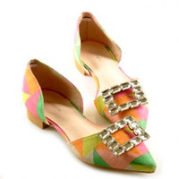 Stylish Women's Flat Shoes With Color Block and Rhinestones Design