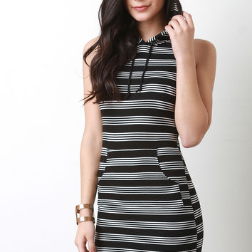 Striped Ribbed Knit Hoodie Dress