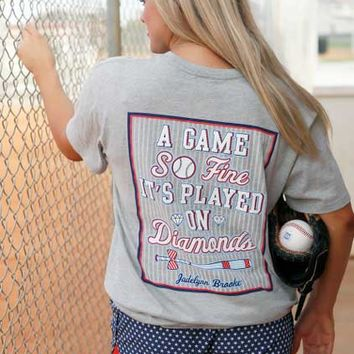 Jadelynn Brooke Game So Fine It's Played on A Diamond Tee in Heather Gray BASEBALL-SS