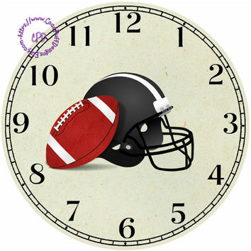 """Football Art - Helmet and Football - -DIY Digital Collage - 12.5"""" DIA for 12"""" Clock Face Art - Crafts Projects"""