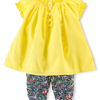 Ralph Lauren Childrenswear Baby Boys Baby Girls Smocked Top and Floral Print Leggings Set