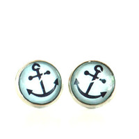Anchor Earrings Beach Jewelry Aqua Blue Summer Unique Gift for Her Birthday Vacation Under 20 Item E71