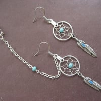 Turquoise Beaded Dream Catcher Asymmetrical Cartilage Chain and Ear Cuff Dreamcatcher Earring Set