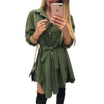 Irregular tie waist shirt dress Women Spring 2018 wrap dress Long sleeve turn down collar Army green red short mini sundresses