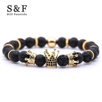 Gold Crown Bracelet Beads Bracelets For Women Jewelry Men Pulseira Masculina Feminina Erkek Bileklik Hombre Friends Bangles 2018