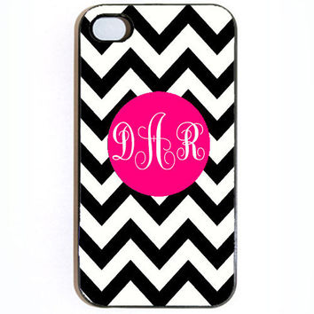 iPhone 4 4s Zebra and Pink Monogram Hard snap on by KustomCases