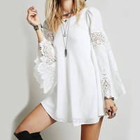 Summer Women Fashion White Long Sleeve With Hollow Lace Dress = 5739209857