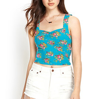 FOREVER 21 Sweetheart Floral Crop Top Teal/Pink Large