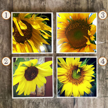 Drink Coasters, Sunflower Photography Flowers Handmade Design, Ceramic Tiles, Housewarming Gift, Floral Garden Home Decor, Wedding Gift