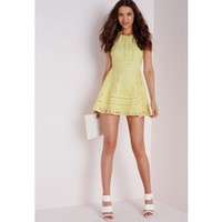 Lace Cross Back Ladder Skater Dress Lemon - Dresses - Skater Dresses - Missguided