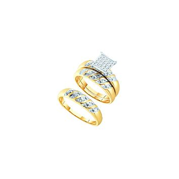14k Two-tone Gold His & Hers Round Diamond Cluster Matching Bridal Wedding Ring Band Set 1/12 Cttw