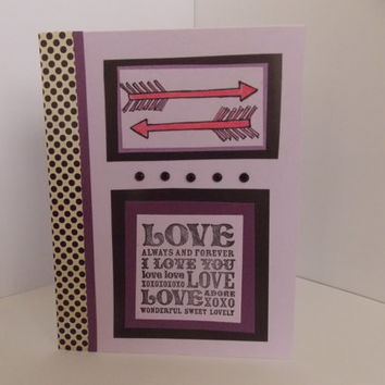 I Love You - Handstamped Love Handmade Greeting Card - Anniversary - For Husband - For Wife - Engagement - Wedding - Miss You