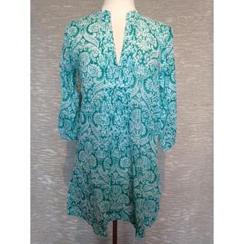 Cotton Turquoise Tunic Top in Indian Print