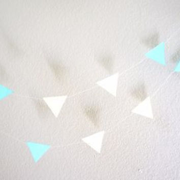 Light Blue Yellow White Tiny Triangle Garland, Banner, Birthday Party Flag Decor