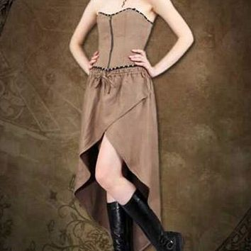 Steampunk Adventurer Womens Brown Ensemble Ladies Dress Outfit