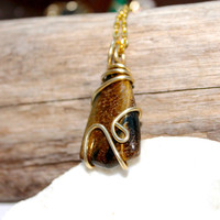 Tigers Eye Jewelry made in Hawaii, Gemstone Necklace, Wire Wrapped Stone Jewelry