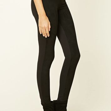 Faux Suede-Paneled Leggings
