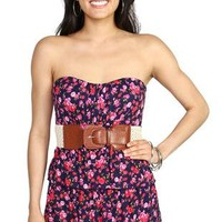 floral print strapless day dress with tiered skirt and belted waist - 1000046436 - debshops.com