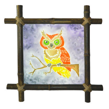 Owl Kids Painting Bird painting Batik Silk painting Baby Bamboo Frame Framed Nursery fabric Painted Baby shower gift Kids decor Birds art