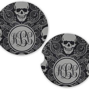Personalized Monogrammed Car Coasters Sugar Skulls Gray , Cup Holder Coaster, Monogram Gift, Gift for Her
