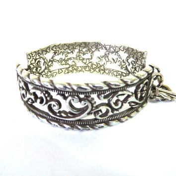 Vintage BRIGHTON Silver Cuff Bracelet Wide Hearts Bangle Valentines day gift
