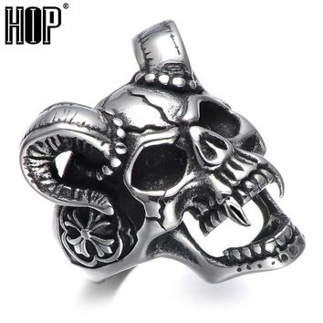 HIP Punk Gothic Casting Evil Damn Vampire Goat Head Bone Ring Titanium Stainless Steel Skull Ring for Men Jewelry