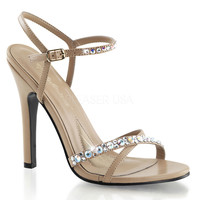 Taupe Rhinestone Ankle Strap Melody Sandals
