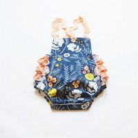 Baby Girl Navy Taza Floral Sunsuit