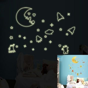 Fluorescent Space Rocket UFO ET Kids Room Wall Sticker Decal Vinyl Home Decor