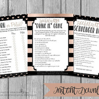 Printable bachelorette games, bachelorette party game, instant download bachelorette games, drink if game, scavenger hunt, porn or polish