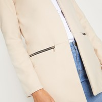 Cream Zip Pocket Wool Coat