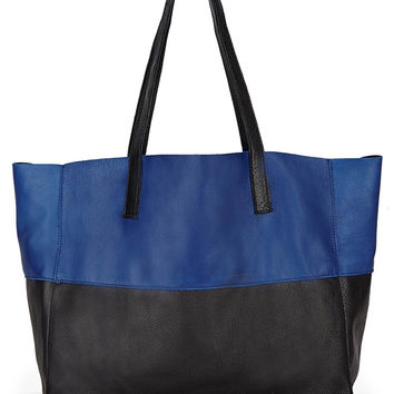 CAZA COLORBLOCK LEATHER TOTE-black/cobalt-accessories-one