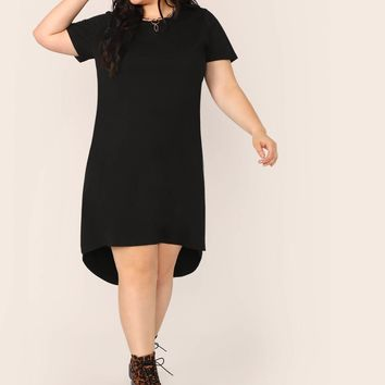 Plus Split High-low Hem Solid Dress