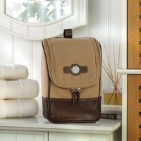 Personalized Canvas and Leather Travel Kit - Monogrammed Travel Dopp Kit