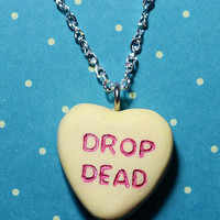 Candy Heart Necklace Rockabilly Psychobilly  Pendant  Charm- Drop Dead Candy Heart - Yellow
