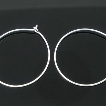Silver plated hoop earring wires 25mm / 1 pair - 10 pairs