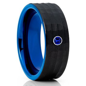 Blue Wedding Band - Black Tungsten Ring - Blue Sapphire - Hammered