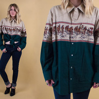 vintage 70s 80s wild horses equestrian top button up blouse oversized hunter green brown running horse animal print M L