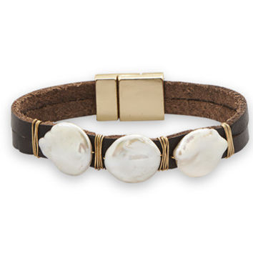 Brown leather fashion bracelet with 3 cultured freshwater coin pearls